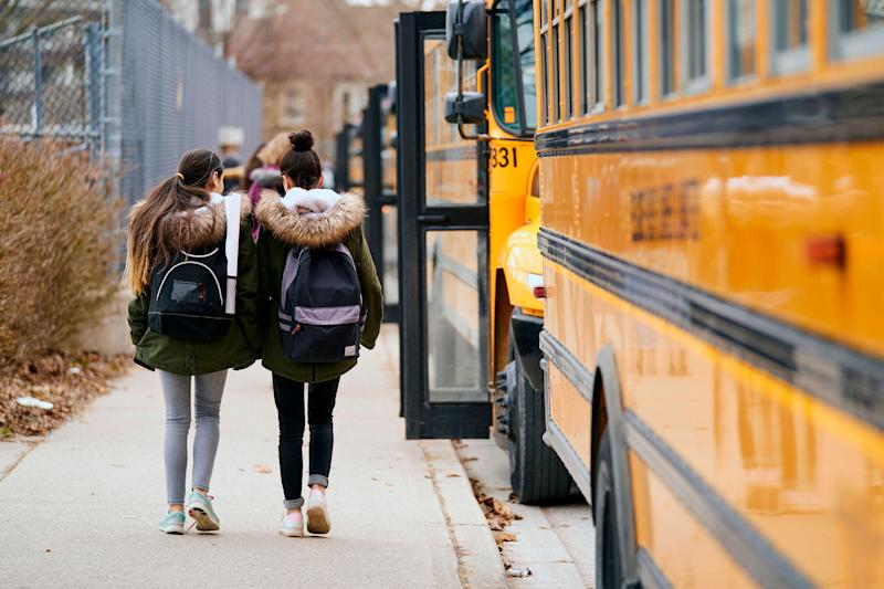 High school students leave Beal Secondary School in London, Ont. on March 13, 2020, the last day of classes before provinces shut down schools to slow the spread of COVID-19. (Photo: GEOFF ROBINS/Getty Images)