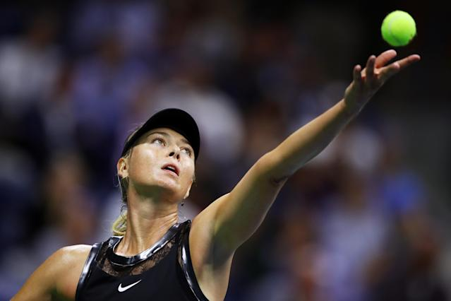 <p>Maria Sharapova of Russia reacts during her first round Women's Singles match against Simona Halep of Romania on Day One of the 2017 US Open at the USTA Billie Jean King National Tennis Center on August 28, 2017 in the Flushing neighborhood of the Queens borough of New York City. (Photo by Clive Brunskill/Getty Images) </p>