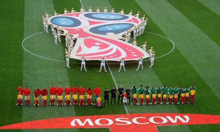 Soccer Football - World Cup - Group A - Russia vs Saudi Arabia - Luzhniki Stadium, Moscow, Russia - June 14, 2018 Players line up before the match REUTERS/Maxim Shemetov