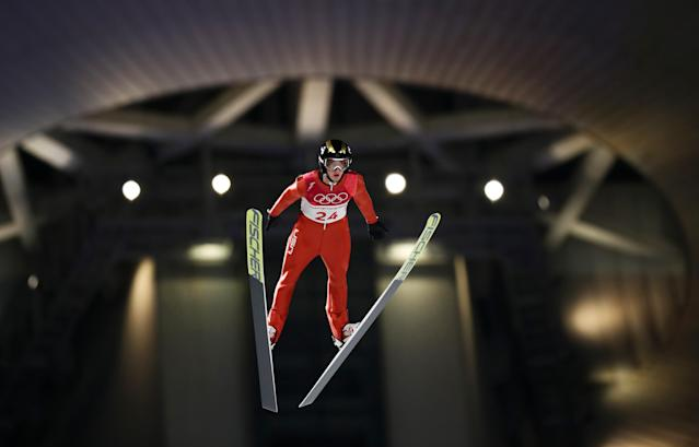 <p>Kevin Bickner of the United States makes a trial jump during the Ski Jumping – Men's Normal Hill Individual Final at Alpensia Ski Jumping Center on February 10, 2018 in Pyeongchang. </p>