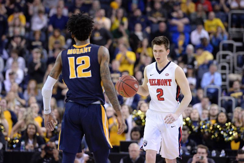 EVANSVILLE, IN - MARCH 09: Belmont Bruins Guard Grayson Murphy (2) squares off with Murray State Racers Guard Ja Morant (12) during the Ohio Valley Conference (OVC) Championship college basketball game between the Murray State Racers and the Belmont Bruins on March 9, 2019, at the Ford Center in Evansville, Indiana. (Photo by Michael Allio/Icon Sportswire via Getty Images)