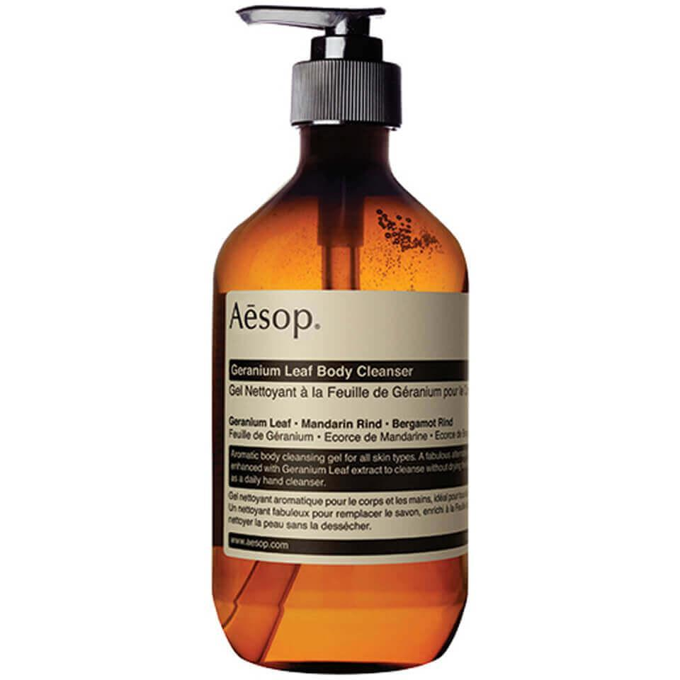 "<br><br><strong>Aesop</strong> Geranium Leaf Body Cleanser Gel 500ml, $, available at <a href=""https://go.skimresources.com/?id=30283X879131&url=https%3A%2F%2Fus.lookfantastic.com%2Faesop-geranium-leaf-body-cleanser-gel-500ml%2F10363131.html"" rel=""nofollow noopener"" target=""_blank"" data-ylk=""slk:LookFantastic"" class=""link rapid-noclick-resp"">LookFantastic</a>"