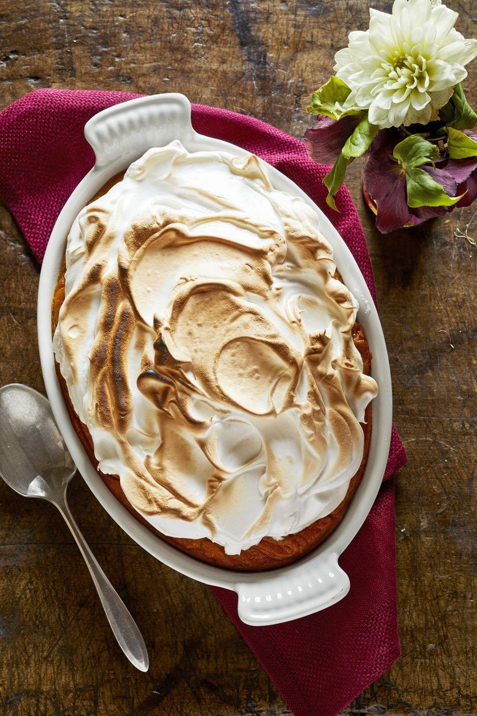 """<p>Although this dish screams Thanksgiving, you'll have no trouble serving it any time of the year. It's so delicious, we doubt your family will complain.</p><p><strong><a href=""""https://www.countryliving.com/food-drinks/a29133187/sweet-potato-casserole-with-homemade-marshmallow/"""" rel=""""nofollow noopener"""" target=""""_blank"""" data-ylk=""""slk:Get the recipe"""" class=""""link rapid-noclick-resp"""">Get the recipe</a>.</strong></p><p><strong><a class=""""link rapid-noclick-resp"""" href=""""https://go.redirectingat.com?id=74968X1596630&url=https%3A%2F%2Fwww.surlatable.com%2Fstaub-ceramic-oval-baking-dish%2FPRO-1908573.html&sref=https%3A%2F%2Fwww.countryliving.com%2Ffood-drinks%2Fg877%2Fsweet-potato-recipes-1009%2F"""" rel=""""nofollow noopener"""" target=""""_blank"""" data-ylk=""""slk:SHOP BAKING DISHES"""">SHOP BAKING DISHES</a><br></strong></p>"""