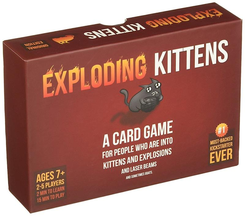 "This party game is perfect for ""people who are into kittens and explosions and laser beams and sometimes goats."" It was the <a href=""https://www.amazon.com/Exploding-Kittens-About-Explosions-Sometimes/dp/B010TQY7A8/ref=zg_bs_boost_20?_encoding=UTF8&psc=1&refRID=0J65QVCRHY2YSPX110BC"" target=""_blank"">most-backed project</a> in Kickstarter history, and is suitable for ages 7+. Can be played with 2 to 5 people. <br /><strong>Price: <a href=""https://www.amazon.com/Exploding-Kittens-About-Explosions-Sometimes/dp/B010TQY7A8/ref=zg_bs_boost_20?_encoding=UTF8&psc=1&refRID=0J65QVCRHY2YSPX110BC"" target=""_blank"">$20</a></strong>"