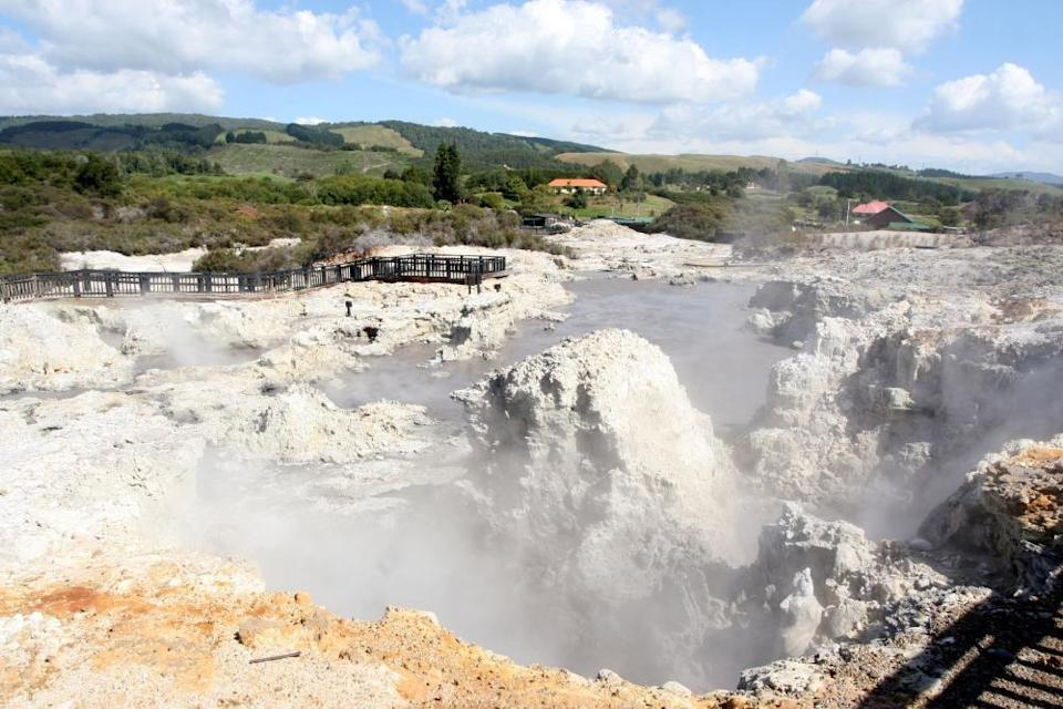 Hell's gate geothermal site located in Rotorua, New Zealand