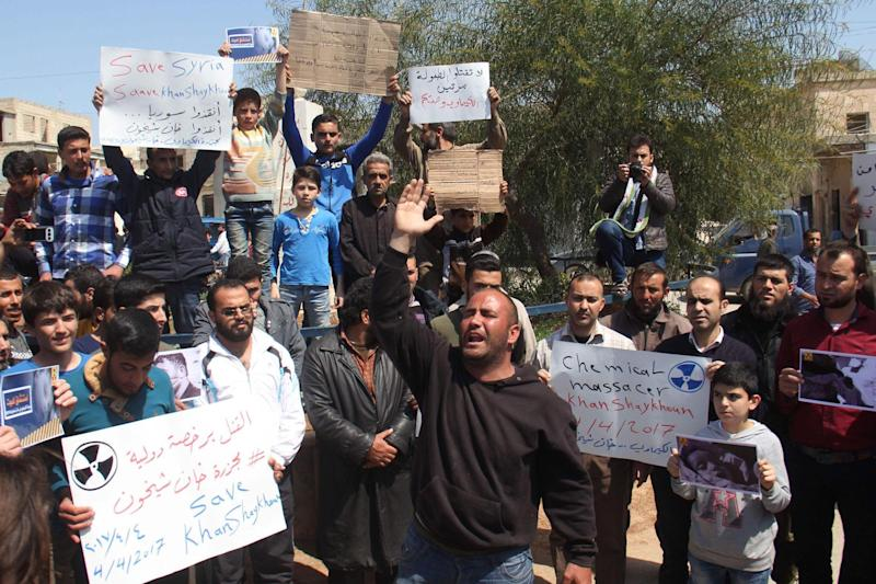 Helpess: Syrians in Khan Sheikhun protest against the chemical attack in their town