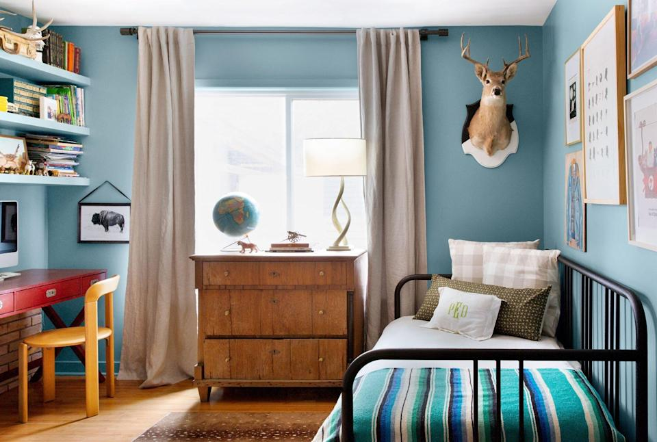 Boy's bedroom with bed and desk