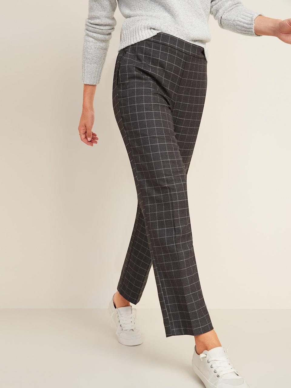<p>These <span>Mid-Rise Straight Plaid Pull-On Pants</span> ($35, originally $40) will enable all your moves.</p>