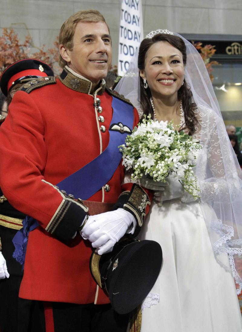 "FILE - In this Oct. 31, 2011 file photo, co-hosts Matt Lauer as Prince William, left, and Ann Curry as Kate Middleton, are shown on the NBC ""Today"" television program's annual Halloween show, in New York.  NBC's ""Today"" show, ""Tonight"" show, ""Nightly News"" and ""Meet the Press"" on Sunday have long dominated their time slots on broadcast television. Each is seeing rivals chip away at that dominance and although different factors are at play, there are worries that the prime-time problems play a role, too. (AP Photo/Richard Drew, file)"