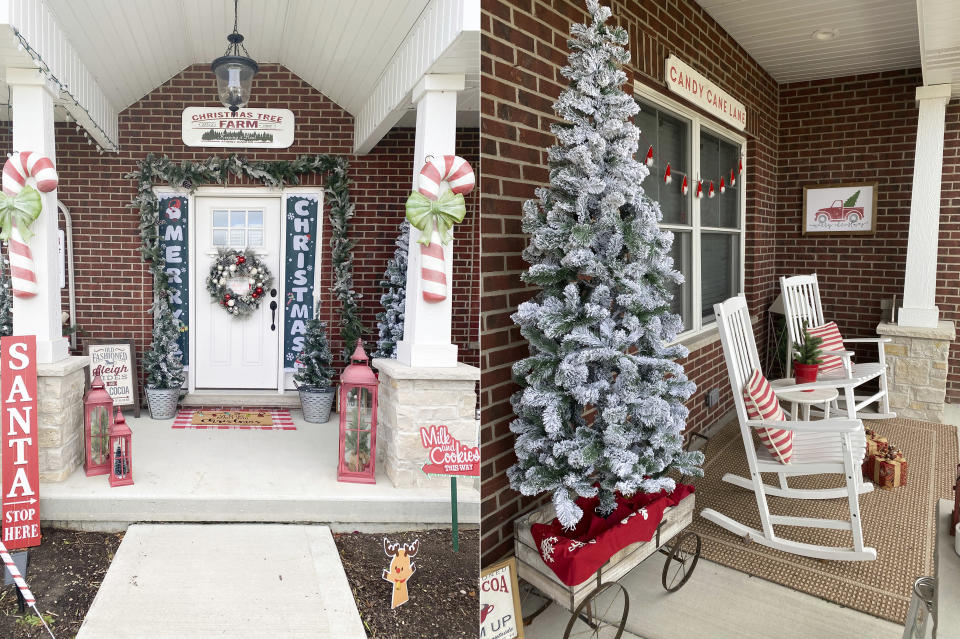 This combination photo shows views of the Christmas-decorated exterior of Danielle Martin's home in Manteno, Ill. Martin is a big Christmas person but usually waits to decorate until the day after Thanksgiving. This year she got busy on Nov. 1 with a candy cane themed front porch. (Danielle Martin via AP)