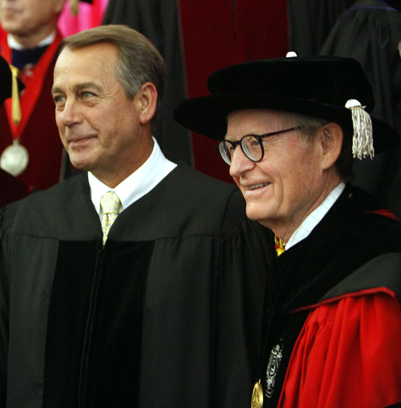 Speaker of the U.S. House of Representatives and U.S. Representative John A. Boehner from Ohio's 8th Congressional District, left, pose for a photo with E. Gordon Gee, Ohio State University president, before  addressing students at The Ohio State University during commencement exercises Sunday, June 12, 2011, in the Ohio Stadium, in Columbus, Ohio. (AP Photo/Terry Gilliam)