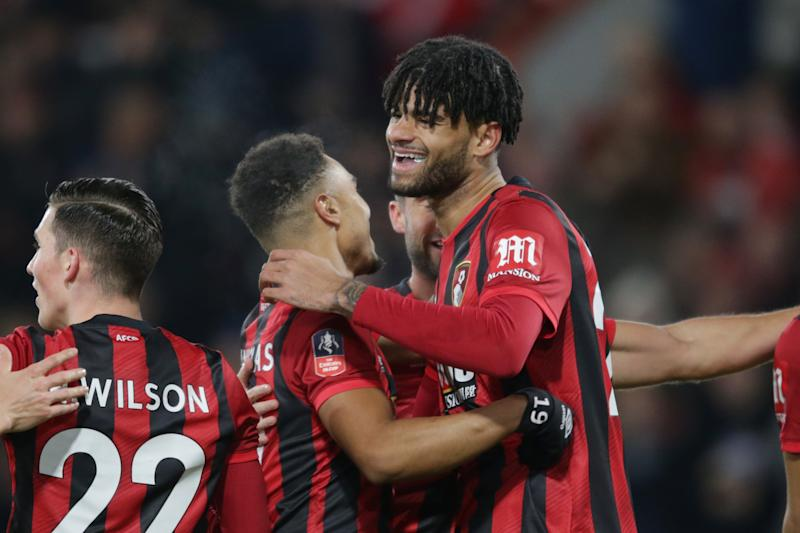 Philip Billing of Bournemouth is congratulated by team-mate Junior Stanislas. (Credit: Getty Images)