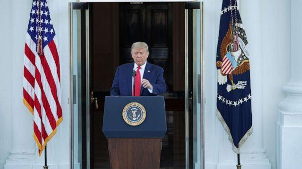 PHOTO: President Donald Trump speaks during a labor day press conference at the North Portico of the White House in Washington, DC, Sept. 7, 2020. (Mandel Ngan/AFP via Getty Images)