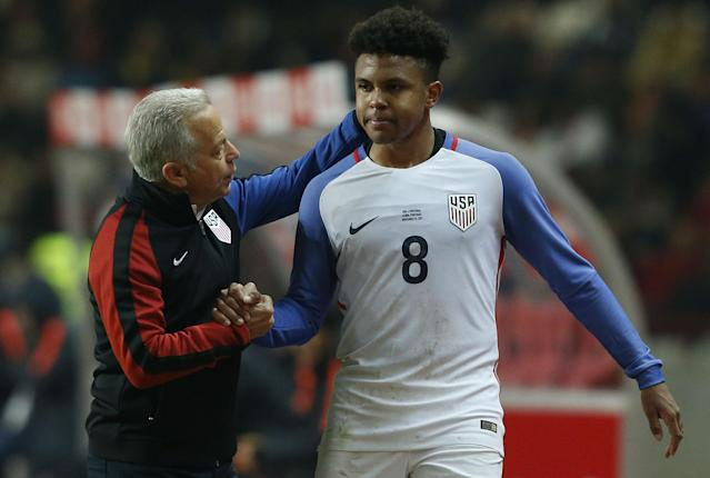 Weston McKennie is just one of several players that will form the outline of a new U.S. national team in the coming years. (AP)