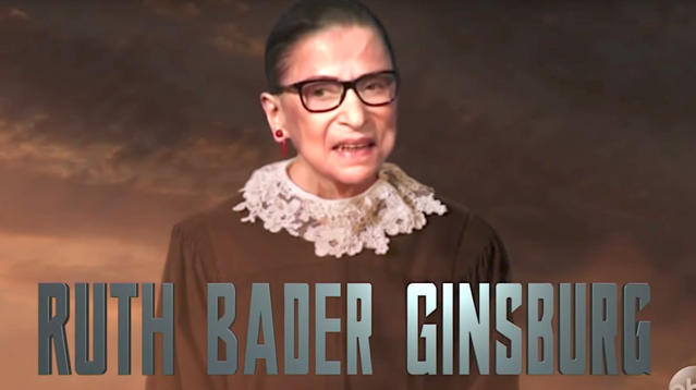"""Jimmy Kimmel added Supreme Court Justice Ruth Bader Ginsburg to the """"Justice League"""" lineup on Thursday's broadcast of """"Jimmy Kimmel Live!"""""""