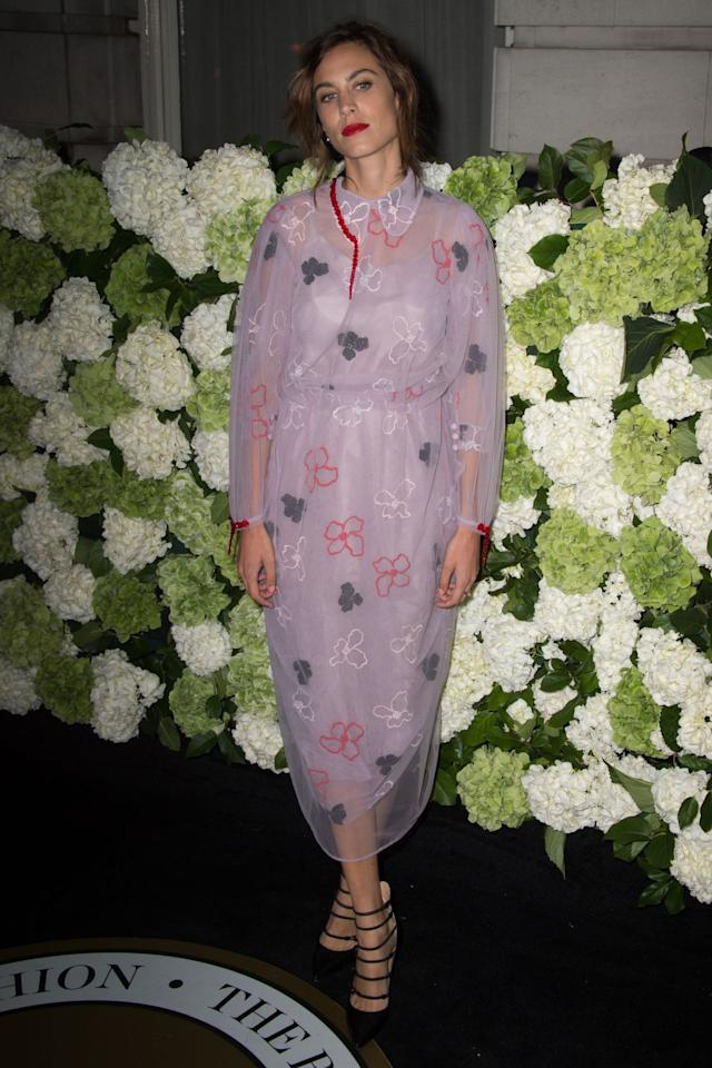 <p>The model wore a pretty lilac Simone Rocha dress, with a chiffon overlay, and black strappy heels at the BoF annual event. <i>[Photo: PA]</i></p>