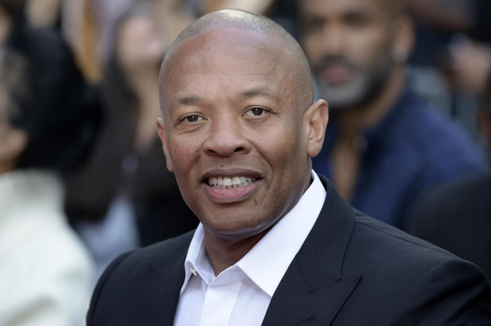 Dr. Dre at a hand and footprint ceremony honoring Quincy Jones in Los Angeles
