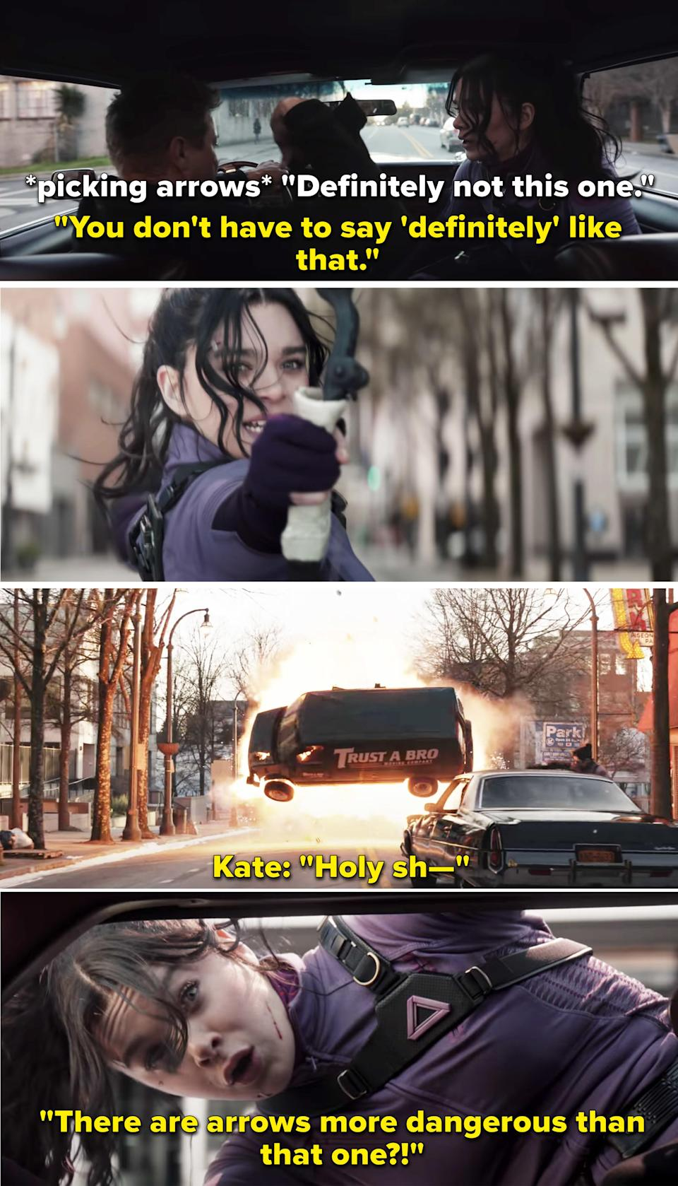 As they are involved in a car chase, Clint tries to pick out an arrow for Kate to use