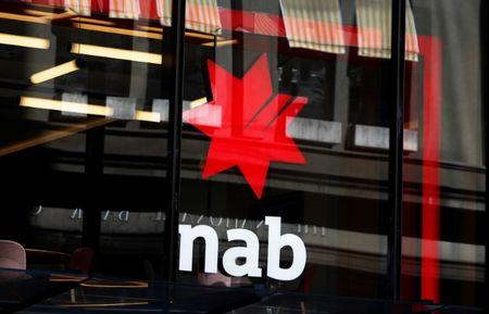 The National Australia Bank Logo is seen on a branch in central Sydney