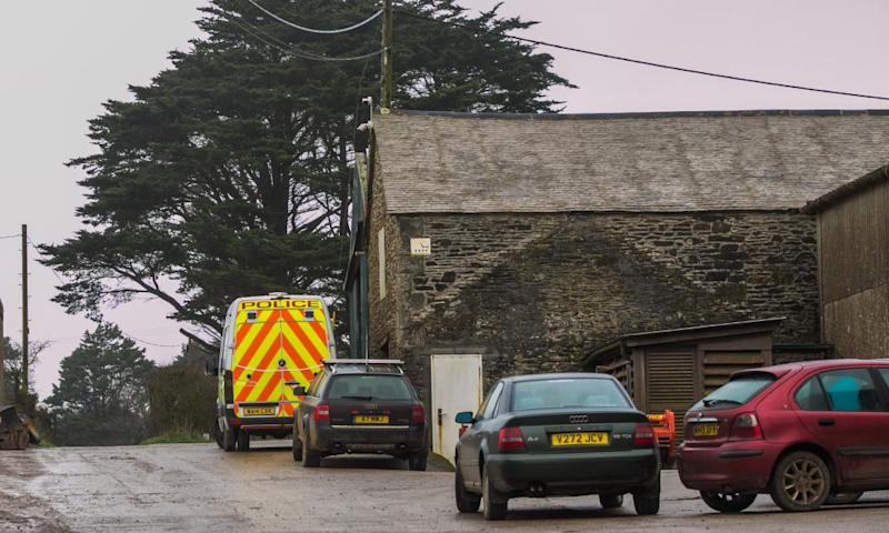 Police at the farm in Manaccan, near Helston in Cornwall