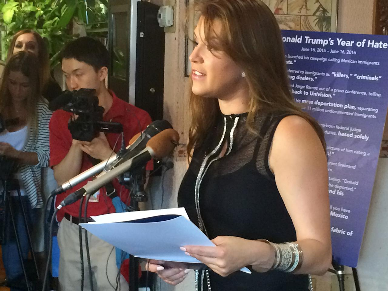 <p> FILE - In this June 15, 2016, file photo, former Miss Universe Alicia Machado speaks during a news conference at a Latino restaurant in Arlington, Va., to criticize Republican presidential candidate Donald Trump. Machado became a topic of conversation during the first presidential debate between Trump and Democratic candidate Hillary Clinton on Sept. 27, 2016. (AP Photo/Luis Alonso Lugo, File) </p>
