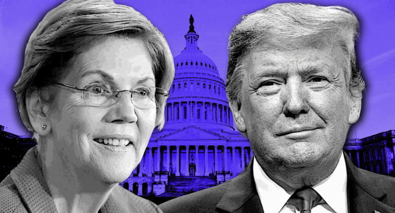 Sen. Elizabeth Warren and President Donald Trump. (Photo illustration: Yahoo News; photos: AP (2), J. Scott Applewhite/AP)