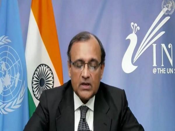 TS Tirumurti, Permanent Representative of India to the UN, speaking uring a virtual UNSC meeting on Syria (Chemical weapons) on Tuesday.
