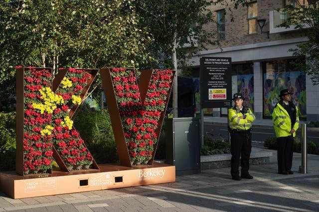Police officers near Pegler Square in Kidbrooke, south London, near to where the body of 28-year-old school teacher Sabina Nessa was found