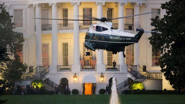 PHOTO: Marine One with President Donald Trump arrives to the White House after the president underwent a fourth day of treatment for the coronavirus disease (COVID-19), Oct. 5, 2020. (Carlos Barria/Reuters)
