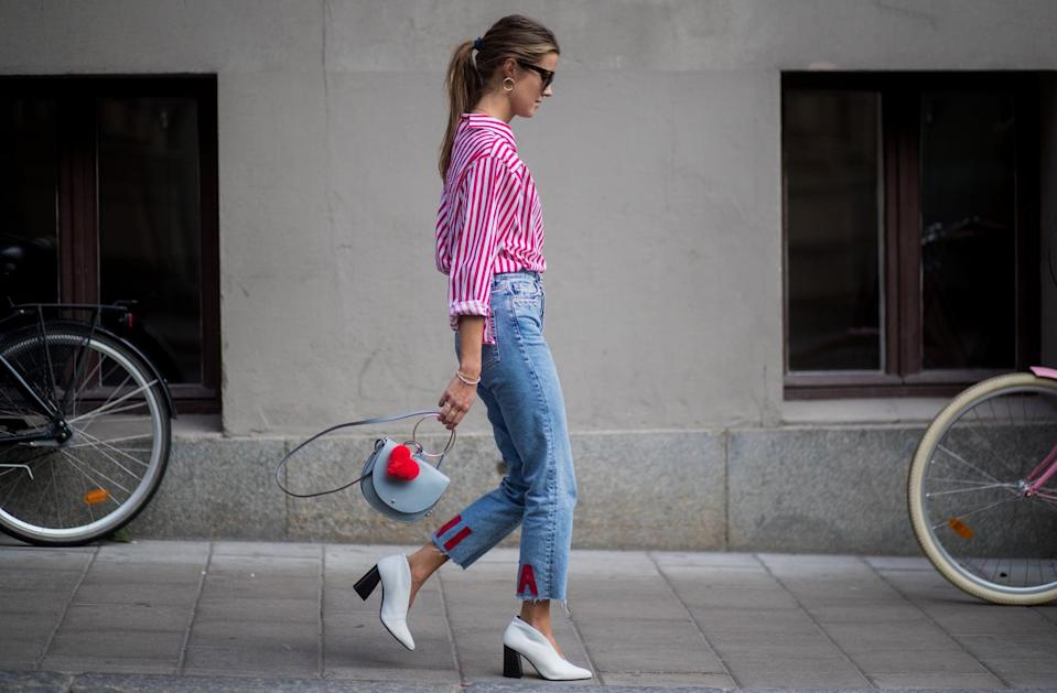 """<p>The frayed edges on these jeans are the perfect marriage between too cool for school and barely trying. This trend beautifully emphasizes a statement boot or coat. And if buying new isn't your thing right now, you can also <a class=""""link rapid-noclick-resp"""" href=""""https://www.popsugar.com/DIY"""" rel=""""nofollow noopener"""" target=""""_blank"""" data-ylk=""""slk:DIY"""">DIY</a> your own undone hem jeans by taking out the hem with a seam ripper.</p>"""