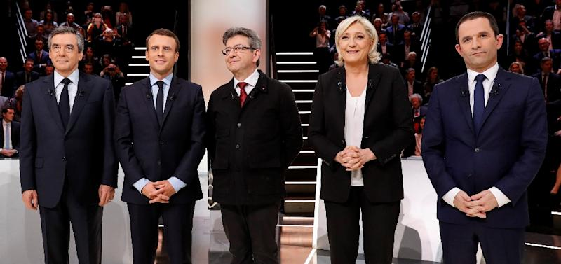 The five main French presidential candidates' (left to right) right-winger Francois Fillon, centrist Emmanuel Macron, hard-left Jean-Luc Melenchon, far-right Marine Le Pen and left-wing Socialist Benoit Hamon