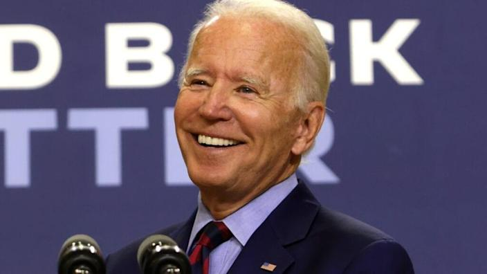 Democratic presidential nominee Joe Biden speaks during a campaign event in Wilmington, Delaware earlier this month. (Photo by Alex Wong/Getty Images)