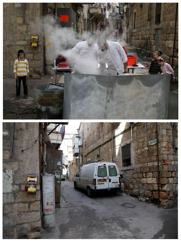 A combination picture shows Jerusalem's Mea Shearim neighbourhood as Israel takes stringent steps to contain the coronavirus (COVID-19)