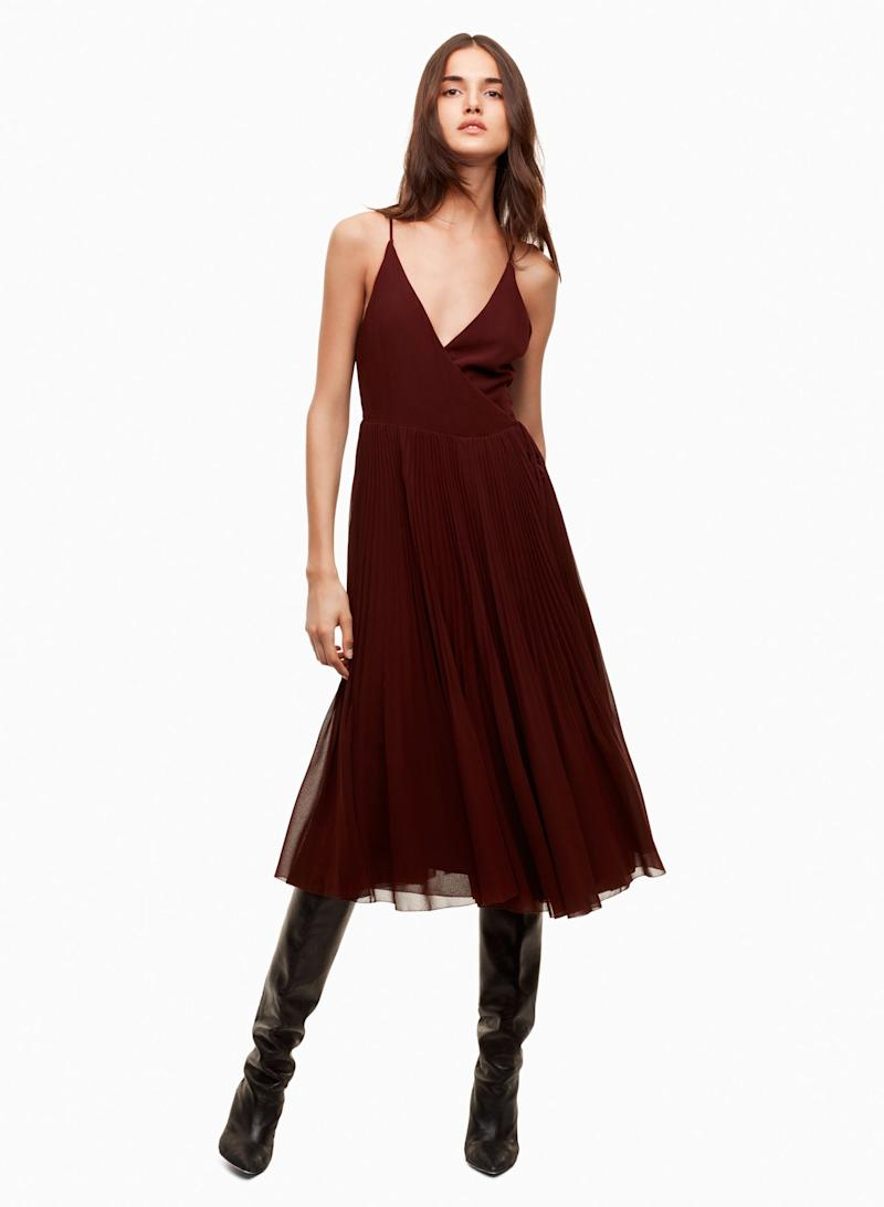 "<a href=""http://us.aritzia.com/product/beaune-dress/61870.html?dwvar_61870_color=2346"" target=""_blank"">Wilfred Beaune dress</a>, $185"