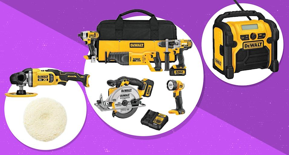 A slew of DeWalt power tools and accessories are on sale for one day on Amazon. (Photo: Amazon)