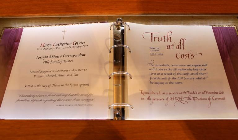 A page in the St Bride's Memorial Book dedicated to Marie Colvin. The London church is known as the journalists' church