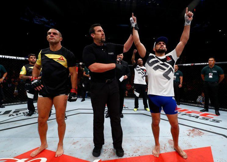 Kelvin Gastelum celebrates after beating Vitor Belfort during their fight night bout in Brazi. (Getty)