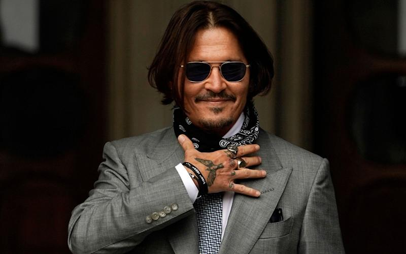 Johnny Depp outside the court in London