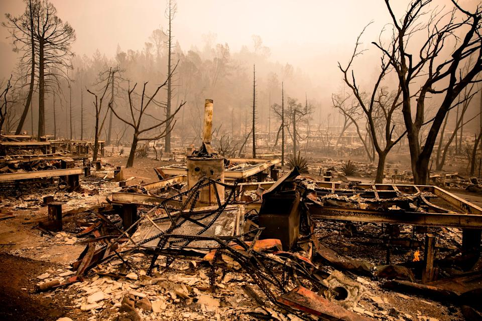 The charred remains of guest houses seen Wednesday at Calistoga Ranch.