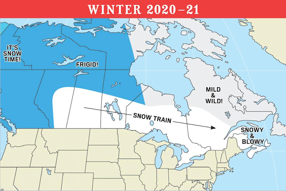 Winter weather forecast map for Canada (Old Farmer's Almanac)