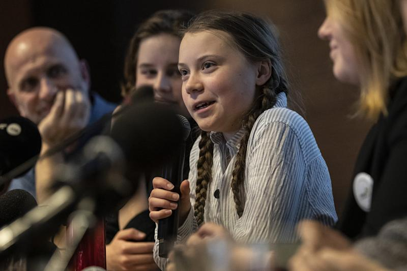 BRUSSELS, BELGIUM - FEBRUARY 21: Greta Thunberg, climate activist speaks during a press conference organized by Belgian Youth for Climate with other activists from Europe on February 21, 2019 in Brussels, Belgium. (Photo by Maja Hitij/Getty Images)
