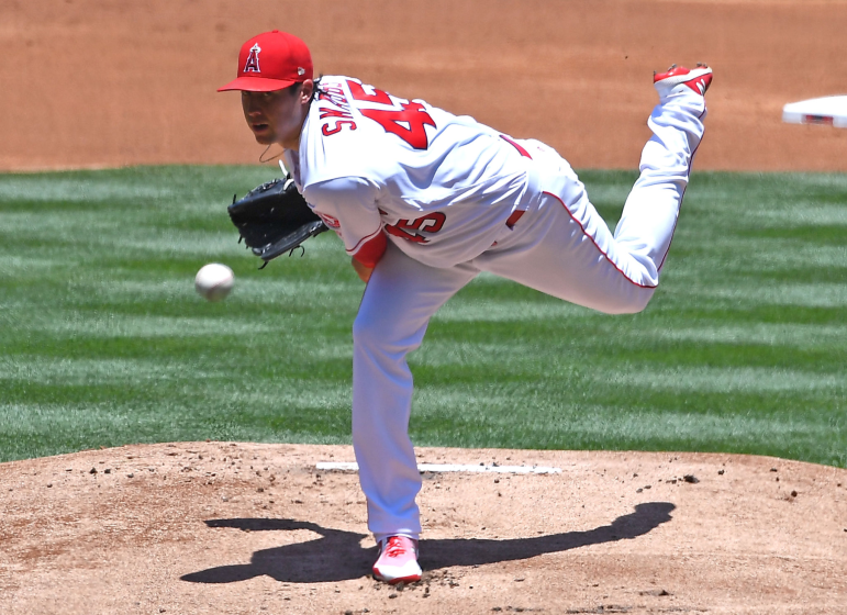 "Angels pitcher Tyler Skaggs, shown here pitching during a game in June 2018, was found dead in a Texas hotel room last year. <span class=""copyright"">(Jayne Kamin-Oncea / Getty Images)</span>"