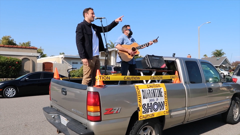 Musician Tanner Howe and his father perform from the back of a pickup truck to bring music to people amid coronavirus pandemic. (Photo: Tanner Howe)