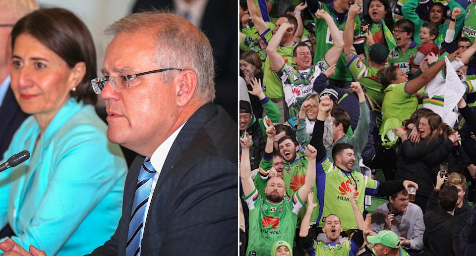 Pictured is a split image of Scott Morrison and Gladys Berejiklian (left) and football fans (right).