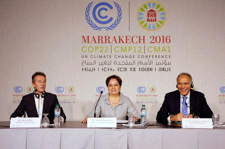 (L-R) UNFCCC Spokesperson Nick Nuttall, Executive Secretary of the UN Framework Convention on Climate Change Patricia Espinosa and Moroccan Foreign Minister and COP22 President Salaheddine Mezouar attend the World Climate Change Conference 2016 (COP22) in Marrakech, Morocco, November 6, 2016. REUTERS/Youssef Boudlal