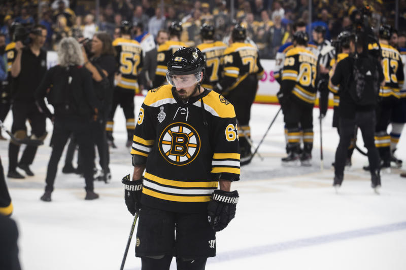 Boston Bruins forward Brad Marchand was predictably devastated following his team's loss in Game 7 of the Stanley Cup Final to the St. Louis Blues. (Stan Grossfeld/Globe Staff)