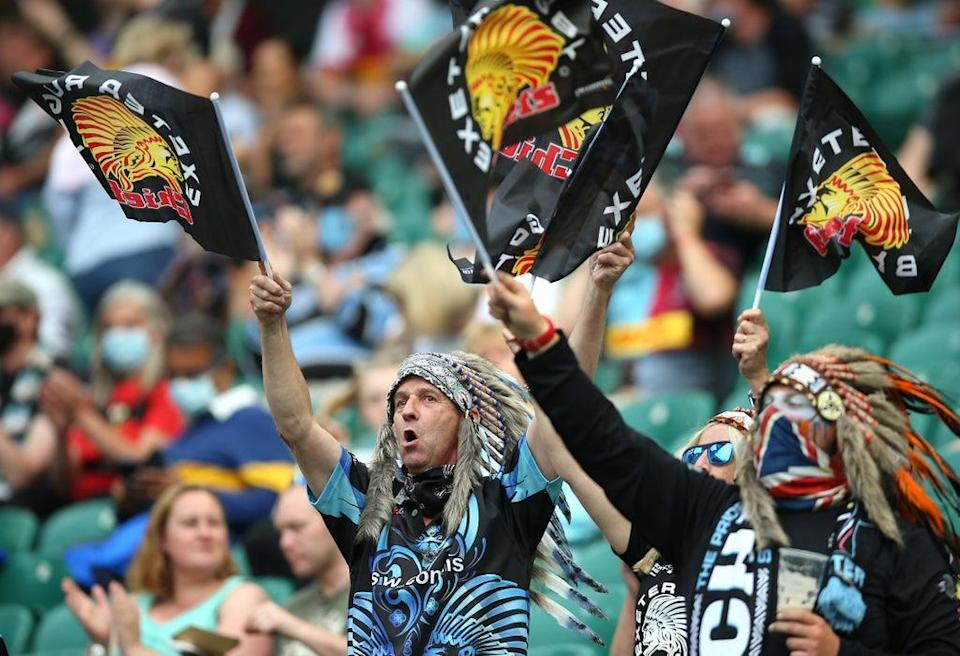 Exeter Chiefs fans wearing the headdresses (Nigel French/PA) (PA Wire)