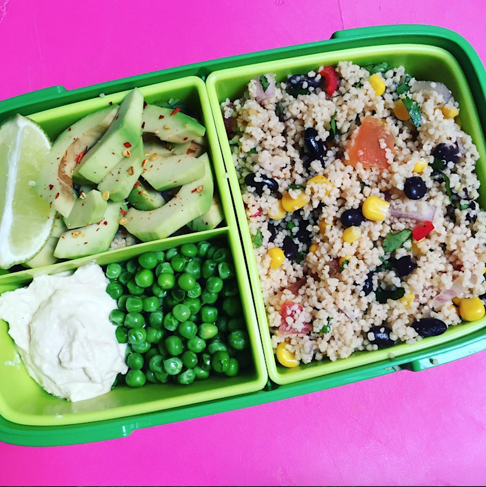 <p>Get yourself a tupperware with different compartments and bring in multiple dishes. We love this option from veganbentos that combines leftover couscous (with black beans, sweetcorn, red onion, chopped tomato, red chilli, coriander, lemon juice and garlic oil), chilli and lime avocado, peas and hummus. <i>[Photo: Instagram/ veganbentos]</i></p>