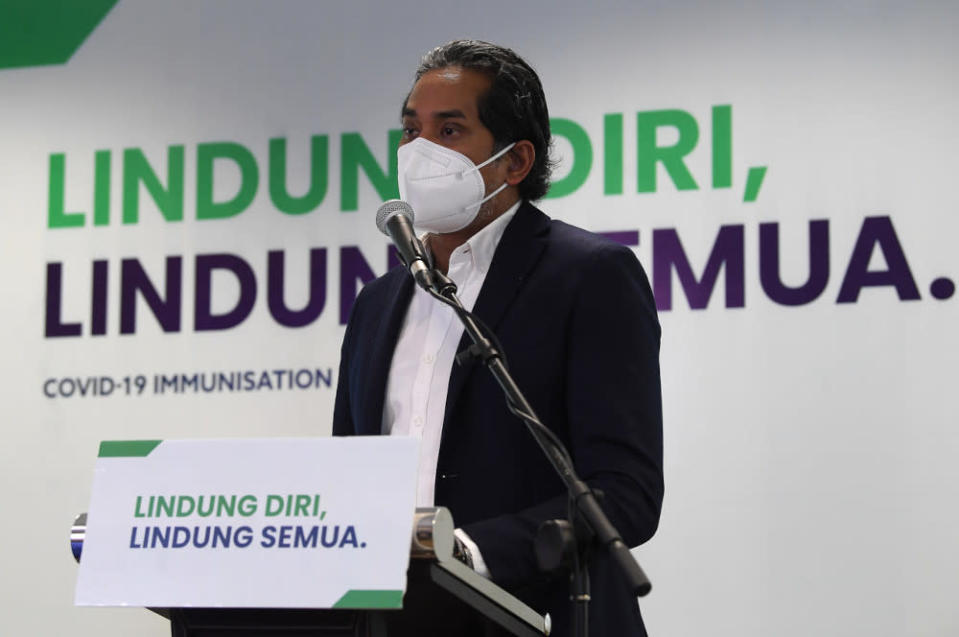 File picture shows Khairy Jamaluddin speaking at a media conference on the National Covid-19 Immunisation Programme developments in Putrajaya, June 14, 2021. — Bernama pic