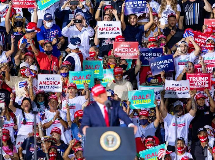 President Donald Trump speaks during his 'Make America Great Again Victory Rally' at Opa-locka Executive Airport in Opa-locka, Florida, on Sunday, Nov. 1, 2020.